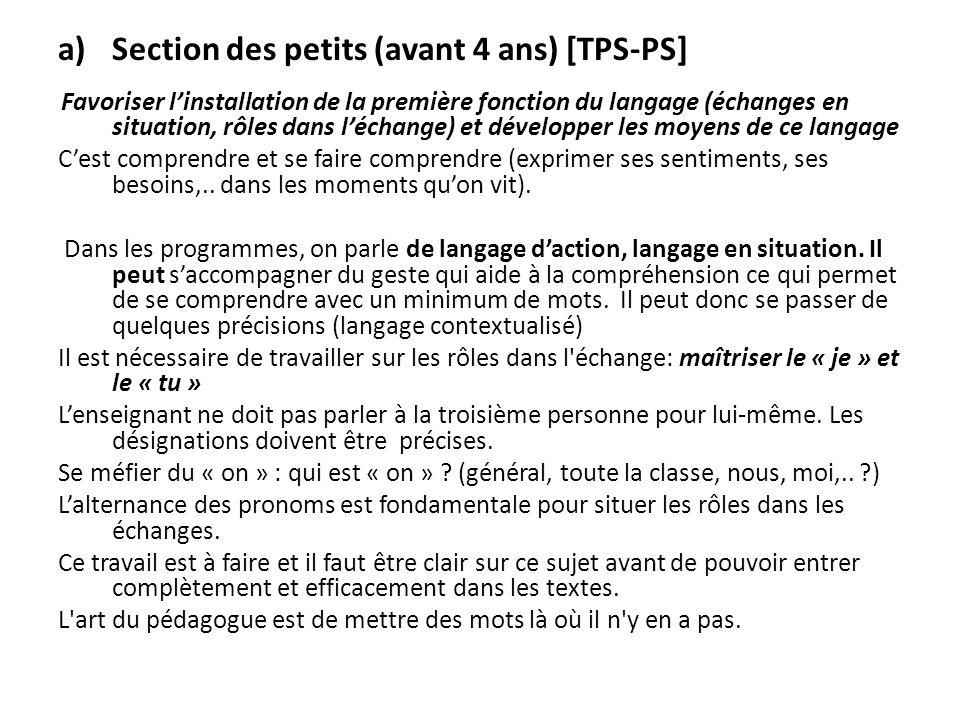 Section des petits (avant 4 ans) [TPS-PS]